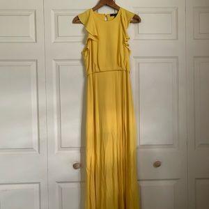 Yellow mustard maxi dress